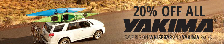 The journey is the recreation. 20% OFF ALL YAKIMA: SAVE BIG ON YAKIMA AND WHISPBAR RACKS!