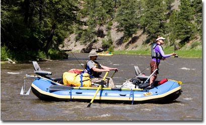 Nate and Stacy, NRS Marketing Coordinator, on a multiday fishing trip on the Smith River, Montana.