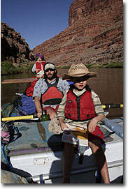 Ainsley, Rob and Henry on the San Juan River, UT.