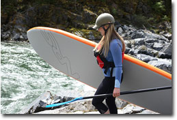 Kat Skarda getting ready to try her luck on the Yuba River, CA, with her Werner Advantage Paddle and Big Earl SUP.
